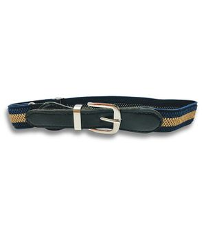 Kid-O-World Stretchable Striped Belt - Dark Blue And Beige