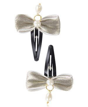 Funkrafts Bow Applique Hair Clips With Pearls Set of 2 - Silver