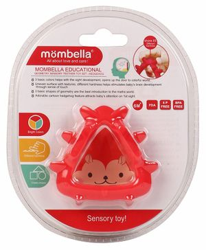 Mombella Geometry Sensory Hedgehog Teether - Red