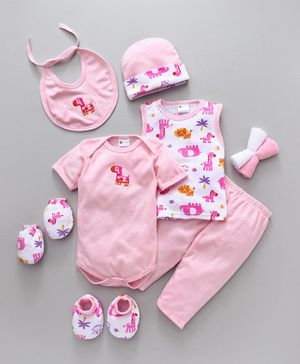 Montaly Clothing Gift Set Animal Print Pink - 9 Pieces