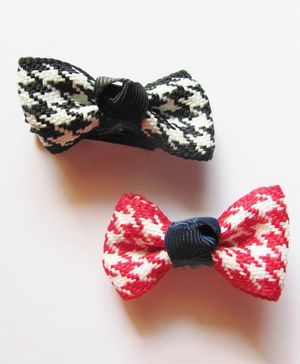 Milonee Checkered Pair Of Bow Clips - Red & Black