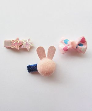 Milonee 3  Piece Set Of Fancy Star Bunny And Bow Clip - Pink