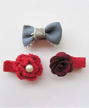 Milonee 3 Piece Set Of Flower And Bow Applique Hair Clips - Red & Blue