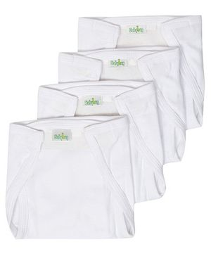 Babyhug Velcro Nappy White Small -  Set Of 4
