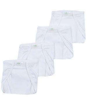 Babyhug Velcro Nappy White Large -  Set Of 4