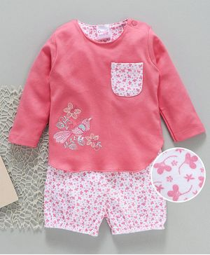 Buy Popees Full Sleeves Top And Shorts Bird Embroidery Pink White for Girls  (6-12 Months) Online in India, Shop at FirstCry com - 2364770