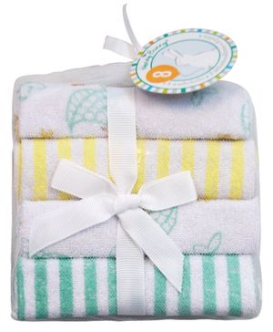 Honey Bunny Printed & Striped Wash Clothes Pack of 8 - Yellow & Sea Green