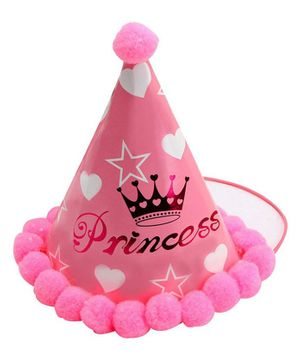 Syga Birthday Party Hat With Pom Pom Motif (Designs May Vary) - Pink