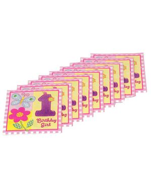 Funcart 1st Birthday Themed Paper Napkins Set of 9 - Pink
