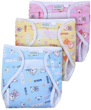 Babyhug Velcro Nappy With Insert Bear Print Small -  Set Of 3