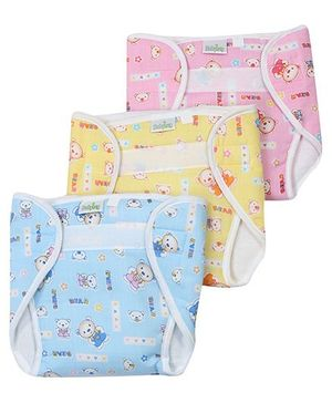 Babyhug Velcro Nappy With Insert Bear Print Medium
