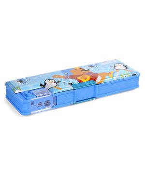 Magnetic Pencil Box Bear Print - Blue