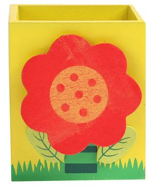 Fab N Funky - Red Sunflower Wooden Pen Stand