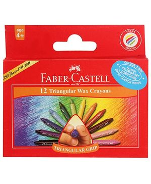 Faber Castell 12 Triangular Wax Crayons