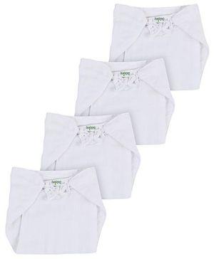 Babyhug Velcro Cloth Nappy White Large - Set of 4