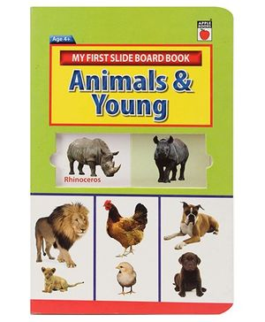 Apple Books My First Slide Board Book Animals And Young - English