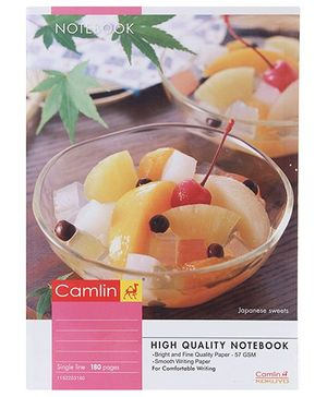Camlin Single Line Notebook Japanese Sweets Print - 180 Pages