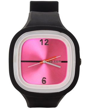 Fab N Funky - Kids Black Watch With Dark Pink Dial