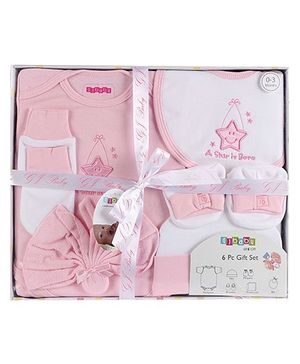 Baby Dreamz - Set Of Six Baby Gift Set Star Print Pink