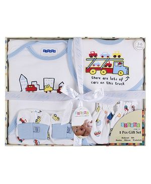 Baby Dreamz - Set Of Five Baby Gift Set Truck Print Blue