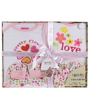 Baby Dreamz - Set Of Five Baby Gift Set Flower Print Pink