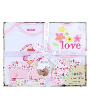 Baby Dreamz Baby Gift Set Flower Print Pink - Set Of Five