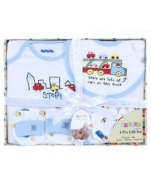 Baby Dreamz Baby Gift Set Truck Print Blue - Set Of Five