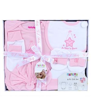 Baby Dreamz Baby Gift Set Star Patch Pink- Set Of Six