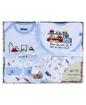 Baby Dreamz Baby Gift Set Truck Print Blue - Set Of Five