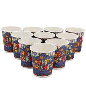 Karmallys Printed Paper Cups Happy Birthday Star Print - 200 ml