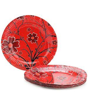 Karmallys Paper Plates Flower Print - 24 cm