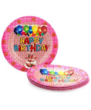 Karmallys Printed Paper Plates Happy Birthday Cake And Balloons Print - 19 cm