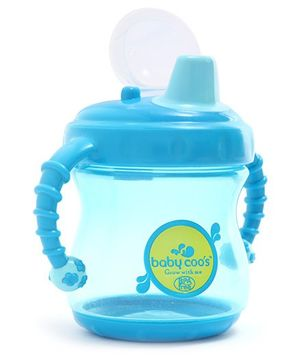 Baby Coo's Blue Twin Handle Cup With Dust Free Cover 240 ML