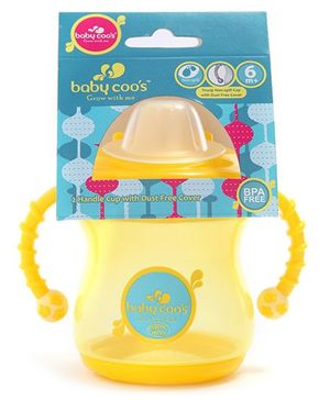 Baby Coo's Yellow Twin Handle Cup With Dust Free Cover 240 ML