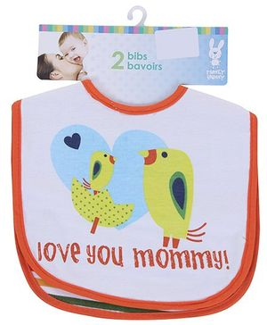Honey Bunny Love You Mommy And Daddy Bibs - Set Of 2