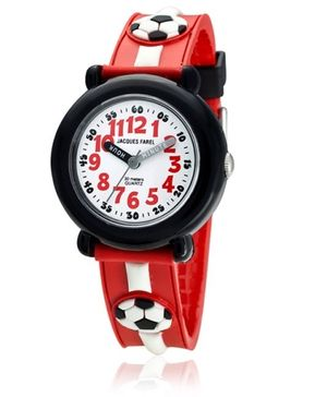 Jacques Farel Kids Soccer Wristwatch Red