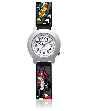 Jacques Farel Kids Motorbikes 3D Strap Wristwatch Black
