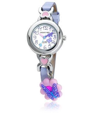 Jacques Farel Kids Butterfly Charm 3D Strap Wristwatch Grey