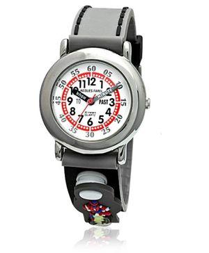 Jacques Farel Kids Snap-on Patch Strap Wristwatch Grey