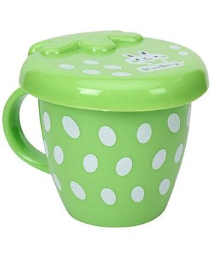 Fab N Funky Dotted Design Baby Cup With Lid - Green