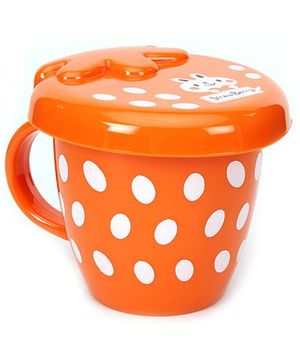 Fab N Funky Dotted Design Baby Cup With Lid - Orange