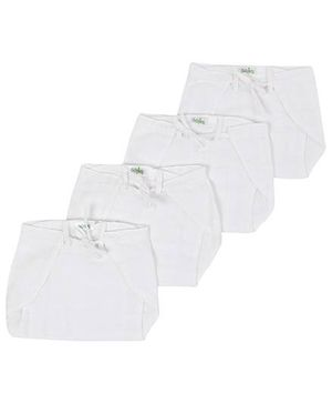 Babyhug Cloth Nappy String Tie Up White Medium - Set of 4