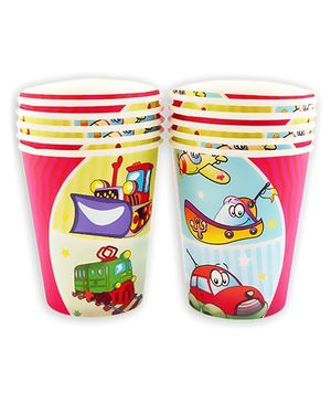 Party Anthem Pink Vehicle Print Paper Cups - 266 ml