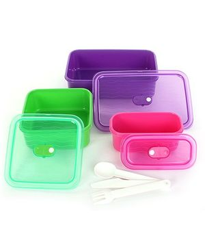 Decor Real Seal Big Lunch Box Kit Set Of 6 - 13.5 x 6.5 x 6 cm