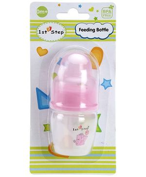 1st Step Plastic Feeding Bottle Elephant Print Pink - 40 ml