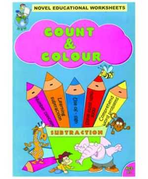 Shree Book Centre Novel Educational Worksheets Count And Colour Subtraction - English