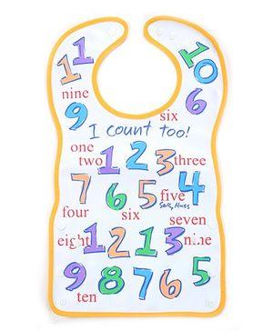 Fab N Funky Baby Bib Numbers Print White - 33 x 26 cm