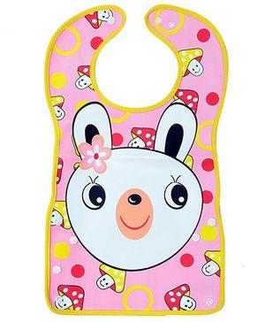 Fab N Funky Baby Bib Rabbit Print Pink - 33 x 26 cm