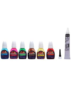 Camel Glass Colours - 6 Glass Colors Each 10 ml And 1 Glass Liner Tube 15 ml