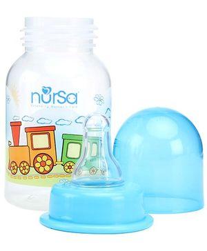 Nursa Blue Plastic Feeding Bottle Train Print - 125 ml